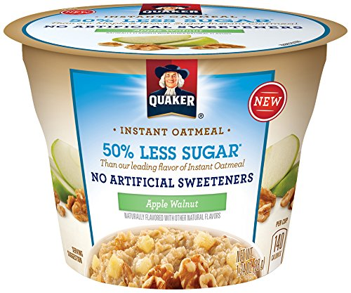 Quaker Instant Oatmeal Express Cups, 50% Less Sugar, Apple Walnut, Breakfast Cereal, Individual Cups (Pack of 12) (Single Serve Steel Cut Oats compare prices)