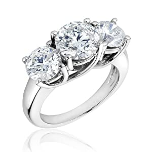 Three-Stone Diamond Ring 4ctw - Size 6