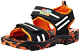 Happy Feet Unisex Magic Black and Orange Sandals and Floaters - 8 Kids UK/India (26 EU) (HF043)