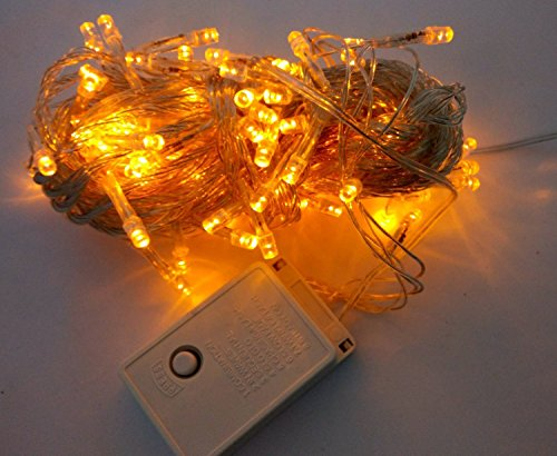 Xkttsueercrr 10M 33Ft 100Led Yellow 8 Different Sparking Modes String Fairy Light With Tail Plug For Christmas Festival Decoration