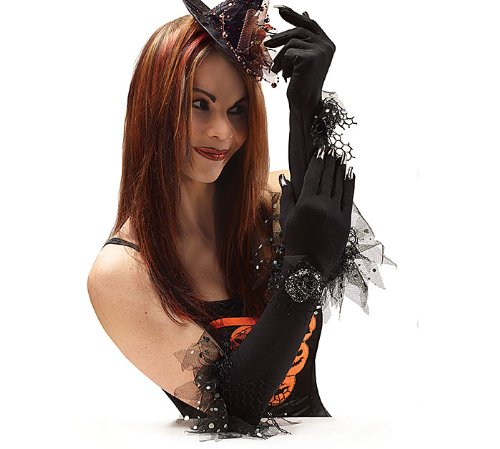 Long Black Gloves with Silver Nails - Costume Halloween Party Gift Decoration