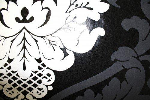 Barock Tapete Schwarz Wei? : Tapete Barock: Retro Barock Tapete FLOCK Vliestapete 5543-14 schwarz