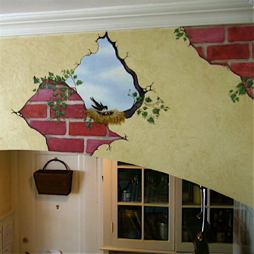 Bird in Wall and Breakaway Bricks Mural Transfer Wall Decal