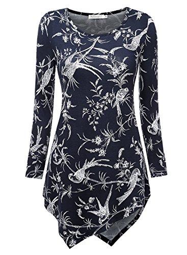 BAISHENGGT Women's Crewneck Long Sleeve Handkerchief Hem Tunic Top XX-Large Navy Floral