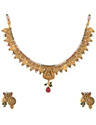 Lucky Jewellery Maroon And Green Gold Plated Jewellery Set For Women - B00SINEKQG