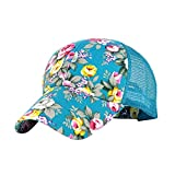 Eforstore Snapback Baseball Cap Floral Perforated Ball Caps Golf Hats Summer Mesh Hat for Women Teens Girls Light Blue