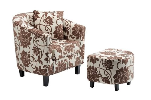 Fabric Tub Chair and Matching Footstool - Brown on Ivory Floral Design - Matching Set With Free Cushion - Chenille Micro Fibre Fabric