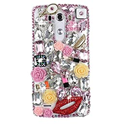 LG G Stylo Bling Case - Fairy Art Luxury 3D Sparkle Series Rose Flowers Sexy Lips Crystal Design Back Cover with Soft Wallet Purse Red Cloth Pouch - Pink