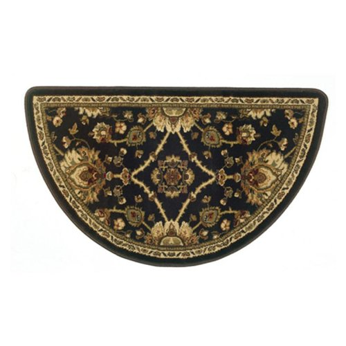 Traditional Oriental Ii Half Round Hearth Fireplace Rug Mat Brown - Black (Fire Mat For Fireplace compare prices)