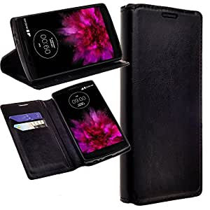 Alcatel One Touch Fierce XL Case - Magnetic Leather Folio Flip Wallet Pouch Case Cover With Fold Up Kickstand and Detachable Wrist Strap For Alcatel One Touch Fierce XL BLACK