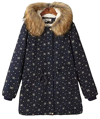 Xuand Women'S Stylish Mid Long Faux Fur Trim Puffer Padded Overcoat