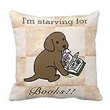 【Koana Shop】好奇心が強いチョコレートラブラドールの子犬クッションカバー車用品 ソファー ベッド アクセサリー 45x45cm 北欧 綿