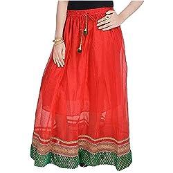 SHREEMANGALAMMART Rajasthani Ethnic Red Pure Cotton Skirt (Red)(SMSKT594)
