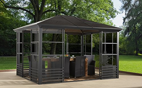 BRITANIA 10u0026#39;x12u0026#39; - Charcoal (#77) Hard Top Screen House Solarium, Aluminum Structure, 8mm ...