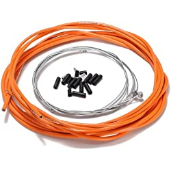 SODIAL(R) Bicicleta de la bici completa delantera y trasera Interior Exterior alambre engranaje freno Cables - Naranja