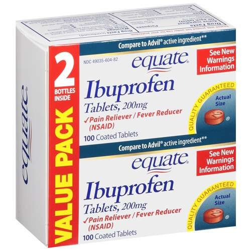 Equate - Ibuprofen Pain Reliever/Fever Reducer 200 mg, 200 Coated Tablets (2 Bottles of 100 Each)