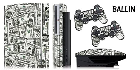 Protective skins for FAT Playstation 3 System Console, PS3 Controller skin included - BIG BALLIN