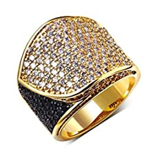 buy Beydodo 18K Gold Plated Women'S Ring (Promise Ring) Leaf Shaped Black With White Cz Size 7 Gold