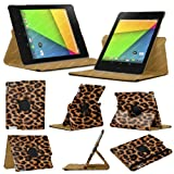 Stuff4 MR-NX7-2-L360-PAT-LEP-STY-SP Leopard Designed Leather Smart Case with 360 Degree Rotating Swivel Action and Free Screen Protector/Stylus Touch Pen for 7 inch Google Nexus 7