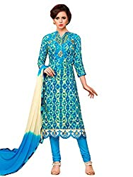 Kanchnar Women's Blue and Cream Glace Cotton Embroidered Party Wear Dress Material for Traditional Wedding Wear,Navratri Special Dress,Great Indian Sale,Diwali Gift to Wife,Mom,Sister,Friend