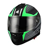 Triangle Matte Letter Green Dual Visor Full Face Motorcycle Helmet [DOT] (Medium) from Zhejiang Jixiang Motorcycle Fittings Co., LTD