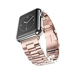 Apple Watch Band, 2015 Latest Solid Stainless Steel Metal Replacement Watchband Bracelet with Double Button Folding Clasp for Apple Watch iWatch 38mm (Rosegold 3 Pointers)