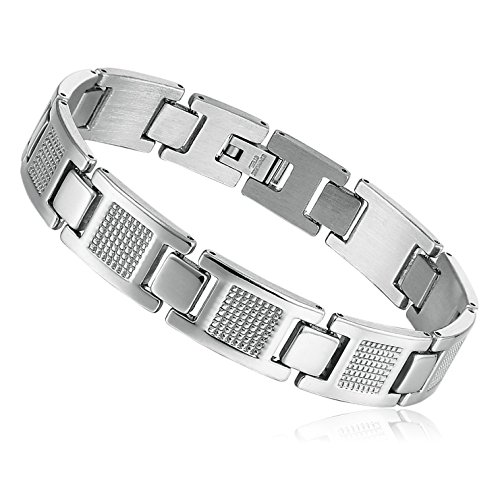 Mens Stainless Steel Bracelet Classic Link Wrist (Silver,11mm) (Stainless Steel Baby Bracelet compare prices)