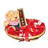 ZOROY The Romance HER Gift Hamper With 7 Inch Teddy Bear, I Love You Bar, And 15 Milk Chocolate Hearts