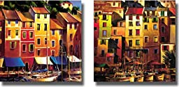 Portofino Waterfront & Mediterranean Gold by O\'Toole 2-pc Premium Stretched Canvas Set (Ready-to-Hang)