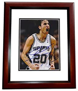 Manu Ginobili Autographed Hand Signed San Antonio Spurs 8x10 Photo - MAHOGANY CUSTOM... by Real+Deal+Memorabilia