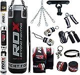 RDX 13PC Leder Boxen MMA Sack 4FT 5FT Boxsack Deckenhaken Set Kickboxen Sandsack Training Gefüllt Gewicht