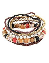 8 Republic London Mother's Day Special Brown Multilayer Beads Bracelet For Women
