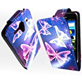 For Huawei G300 U8818 U8815 Ultra Butterfly On Blue Printed Pouch PU Leather Magnetic Protected Flip Case Cover + Stylus