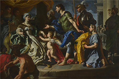 Oil Painting 'Francesco Solimena - Dido Receiving Aeneas And Cupid Disguised As Ascanius,probably 1720s' 20 x 30 inch / 51