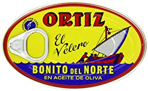 Ortiz Bonito Del Norte - White Tuna in Olive Oil, 3.95-Ounce Tins (Pack of 4)