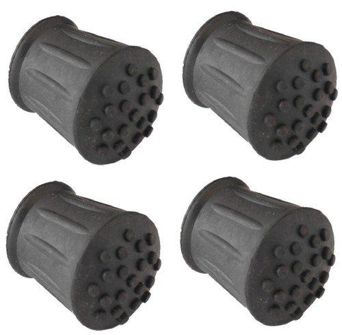4 x 19mm Puntali In Gomma Per Bastoni Da Passeggio, Canne & Stampelle Nera Boccole estremità