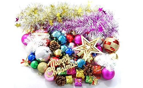【クリスマスツリーの飾り 60点セット】 色々たくさんカラフル オーナメント アソートセット オーナメントボール 装飾 ツリー リース
