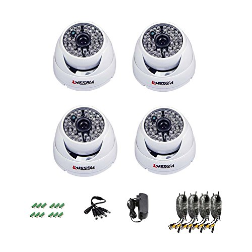 "Tmezon 4 Pack Cctv Home Security Camera 900Tvl 960H Ir Cut Build-In Day Night Vision Weatherproof Indoor/Outdoor 1/3"" 48Pcs Infrared Led'S 130Ft Ir Distance Surveillance Camera W/Power Cable Adapter"