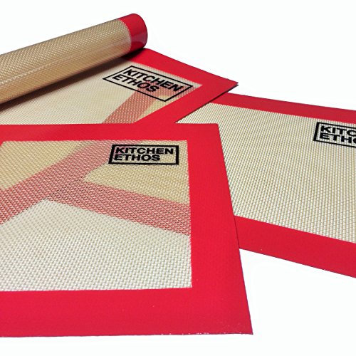 Silicone Baking Mat Set of 3 by Kitchen Ethos - Pack of Non-Stick Anti Slip Non Skid High Heat Resistant - Pan and Sheet Liner Bakeware Tool for Pastry, Cookies, Macarons - Replaces Parchment Paper and Tin Foil - 11x16, 8x11, 8x8 chinese style silicone non stick pan high temperature resistant spatula