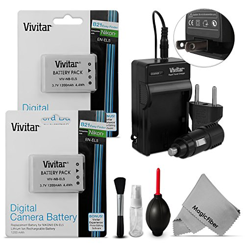 (2 Pack) Vivitar EN-EL5 Battery and Charger Kit for NIKON Coolpix P530, P520, P510, P100, P500, P5100 Cameras - Includes: 2 Vivitar Ultra High Capacity Rechargeable 1200mAh Li-ion Batteries + AC/DC Vivitar Rapid Travel Charger + Cleaning Kit + MagicFiber Microfiber Lens Cleaning Cloth (Coolpix P510 Battery compare prices)