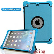buy Ipad Mini Case,Ipad Mini / Mini 2 Retina/ Mini 3 Case Cover,Gogoing [Shock-Absorption/Dirt Proof] Hybrid Dual Layer Armor Defender Full Body Protective Rubber Case For Apple Ipad Mini1/2/3 (Blue)