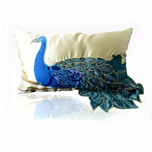 Nava New Fancy Vivid Peacock Faux Silk Decorative Lumbar Pillow Case Cushion Cover Sham