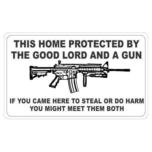 by the good lord and a gun ar15 funny vinyl decals bumper stickers