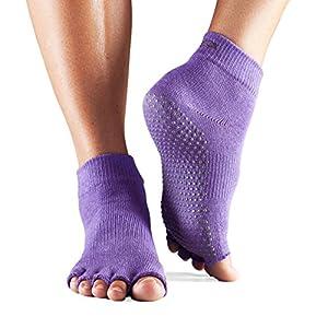 1 Paire Demi Toe Organic Cotton Yoga cheville Chaussettes'S ToeSox hommes et femmes en violet clair 3-5,5 Unisexe Violet Clair