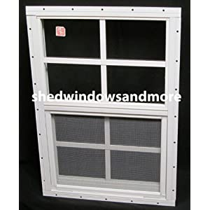 Small Shed WIndow 14 x 21 White Flush, Safety Glass, Playhouse Window