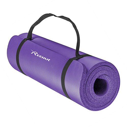 Reehut All-Purpose 1/2-Inch Extra Thick High Density NBR Exercise Yoga Mat with Carry Strap for Gymnastic Fitness Purple Gymnastics Socks
