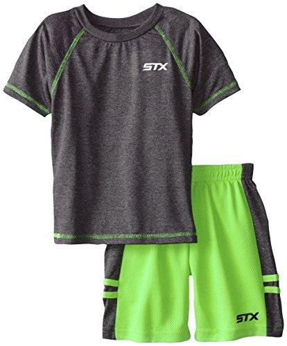 STX Boy's 2-7 Raglan T-Shirt and Athletic Short, Neon Lime, 2T