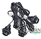 Black Triple Socket Cord Kit for Lanterns
