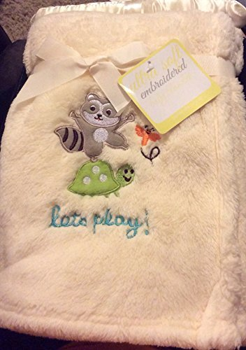 "Ultra Soft Embroidered ""Let's Play Raccoon"" Yellow Baby Blanket"