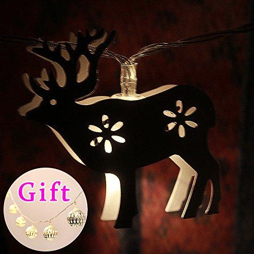 Batteriebetriebene 30 LEDs Warmweiß Lichterkette ~ 3.5M Kreative White Deer - Ideal Hochzeit, Weihnachten und Partei String Lights (Geschenk: 10 Splitter / Gold marokkanischen Orb batteriebetriebenes LED-Lichterkette)